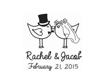 Custom Bride and Groom Wedding Rubber Stamp - Wedding Stamp -Custom Stamp -  Personalized Stamp -Birds in love lovebirds save the date