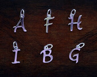 925 Sterling silver initial letter necklace charm pendant with 16'', 18'', 20'' sterling silver chain