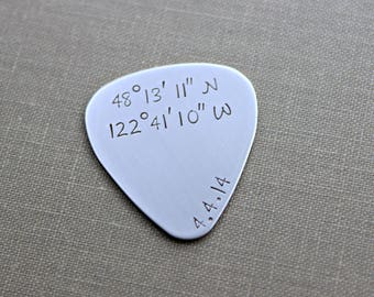 Custom Coordinates guitar pick - Stainless steel - gift for him - Special location, Latitude Longitude, GPS coordinates - Personalized date