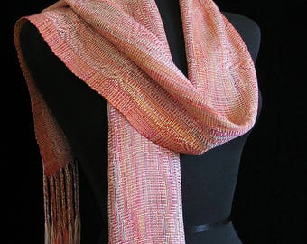 Handwoven Scarf Soft Hand Dyed Tencel Scarf Long Handmade Shawl by FiberFusion Colorful Spring Scarf Light Weight Wrap Coral Pink - Dahlia