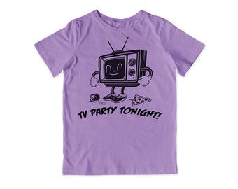 TV Party Screen Printed Tee (Lavender)