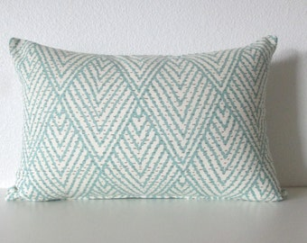 Tahitian stitch horizon blue geometric decorative pillow cover - Ballard Design Belize Spa