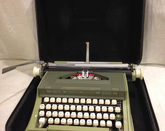 1970s Sears Newport Manual Typewriter with Case-Avocado Green