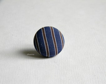 Blue lapel pin. Round lapel button. Striped boutonniere. Blue and brown. Office wear. Made in Italy. Men accessories. Striped buttonhole