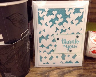 Thank You with Heart overlay Greeting Card