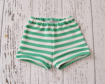 Green and white stripe shorts, baby boy shorts, toddler boy shorts,toddler shorts, baby boy clothes, baby boy outfit, baby summer clothes