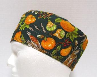 Scrub Hat, Surgical Cap or Chemo Hat Autumn Harvest