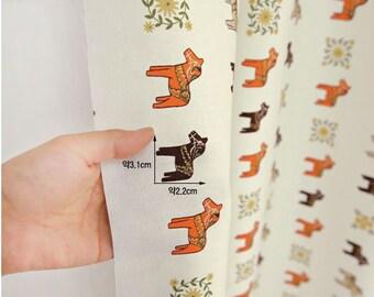 Half Yard-Scandinavian Swedish Style Dalahorse Pattern 20s Cotton Oxford Fabric