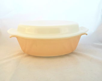Vintage Fire King Peach Luster 433 Casserole Dish w/Lid