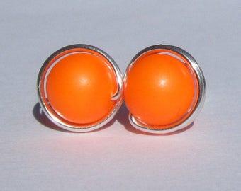 Big Neon Orange Pearl Stud Earrings (10mm), Swarovski Pearl Stud Earrings, Wire Wrapped Sterling Silver Stud Earrings, Orange Stud Earrings