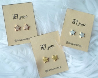 Sparkly star earrings, star stud earrings, gold sparkly star earrings, 4th of july earrings, summer earrings, star studs, sparkle stars