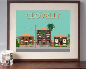 Retro Style Art Print of Clovelly 1930s Art Deco Flats
