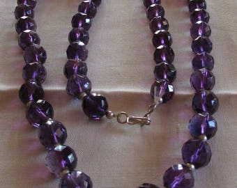 Faceted Amethyst and Sterling Silver Bead Necklace