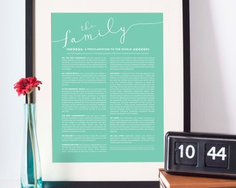 16x20 Family Proclamation to the World, LDS Art, Instant Download, 10 color options