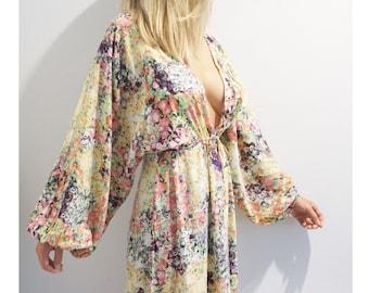 Colourful bohemian Maxi Kaftan Dress boho hippie