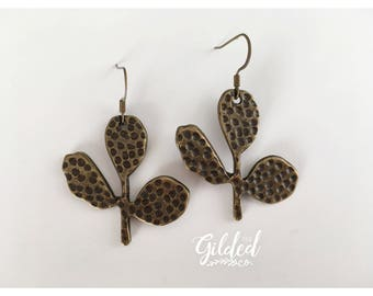 Indian Fig Drops — cactus earrings antique bronze, elegant, christmas gifts for her, dainty carved succulent , tribal nashville boho gypsy