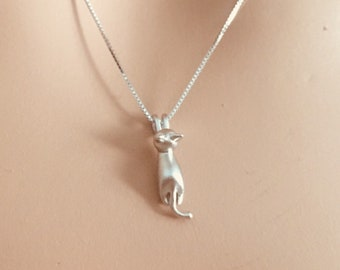 Cat Necklace, Kitty pendant, Sterling Silver Necklace, Animal Necklace,