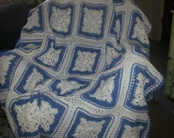 Snowflake Squares Afghan - Blue and White-102