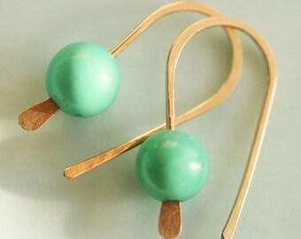 Turquoise Earrings 14 Karat Gold Filled Earrings Open Earrings Everyday Earrings Small Turquoise Earrings