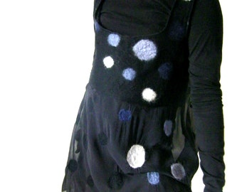 Nuno Felted Blouse, Top, Tunic, Sleeveless, Long, A line, Black Gray, Medium Size