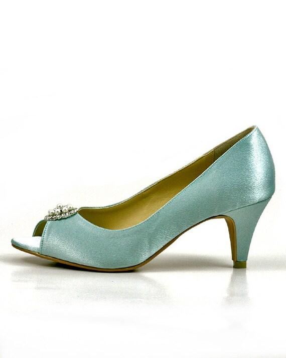 Something Blue Wedding Shoes With Rhinestones Light Diamante Robin Egg Powder