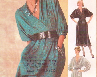 80s Lauren Hutton Womens Pullover Dress in 3 Lengths Dolman Sleeves Simplicity Sewing Pattern 6640 Size 12 Bust 34 UnCut Dolman Sleeves