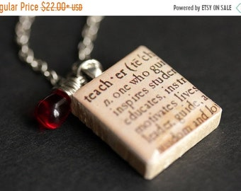 MOTHERS DAY SALE Teacher Necklace. Dictionary Quote Necklace. Scrabble Tile Necklace with Glass Teardrop. Scrabble Pendant. Scrabble Necklac