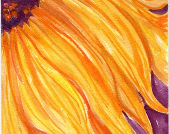 Sunflower  Original Watercolor Painting,  Flower Painting, Small Flower Floral Wall Art, 5 x 7, original watercolor painting of sunflower