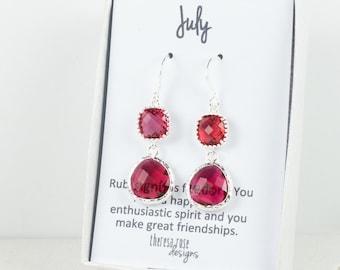 July Birthstone Silver Earrings, Long Ruby Silver Earrings, July Ruby Earrings, July Birthstone Jewelry, Bridesmaid Jewelry