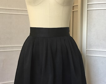 Black, Pleated, Circle Skirt, Mini