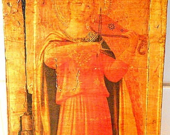 Icon-Byzantine- Angel with violin Fra Angelico 1433 Tabernacle with Linier (detail) repro