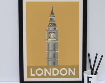 Big Ben print  -  London artwork - London print - London Architecture - London design - Statement poster