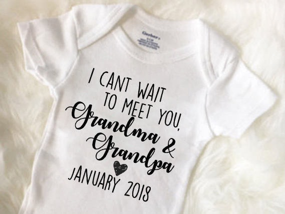 I Can T Wait To Meet You Grandma Amp Grandpa Grandparent