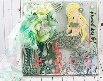 Shabby Chic Mermaid Just Keep Swimming Greeting Card