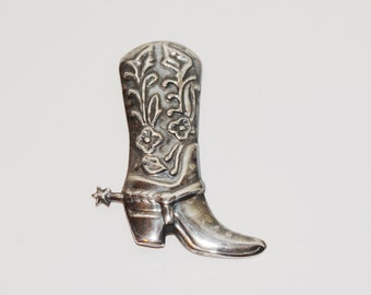 Vintage Sterling Silver Cowgirl Boot / Spur Brooch.