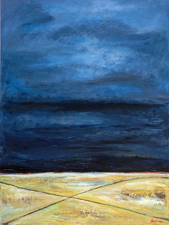 Abstract Landscape Painting Yellow Gray Art CROSSROADS II 48x36 by BenWill