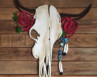 Hand Painted Cow Skull - Roses - Beads - Tribal - Feather - Bohemian