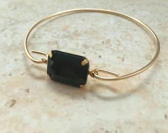 Black Gemstone Bangle Bracelet,Black Stone Stacking Bracelets, Black Gemstone Gift Jewelry, Christmas Gift,Thin Bangle, Stackable Bracelet