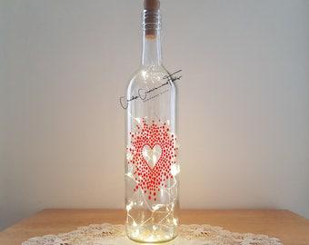 Bottle Lamp Kit - Red Heart Spray, Bottle Lamp, Wine Bottle Light, Bottle Light, Table Decor, Unusual Gift, Bottle, Craft Kit, CraftyCreases