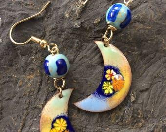 enamel Jewelry/enamel earrings/crescent moon shape/boho/ready to ship/blues green yellow/enamel on copper/gift for her/ceramic bead/floral