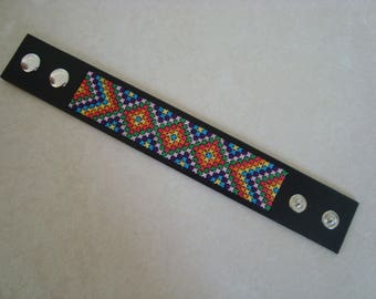 Bright bracelet faux leather with color cross stitch