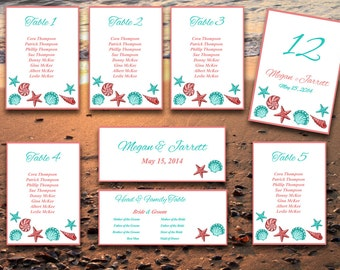 Beach Wedding Seating Chart Template   Seashell Coral Sea Green Microsoft Word Template   Table Number Card   Wedding Download