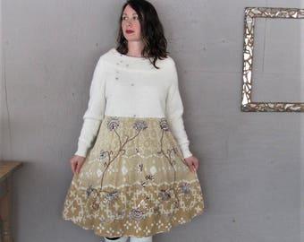 upcycled clothing cream tunic wool angora cotton dress Bohemian wearable art reclaimed romantic dress X L Boho recycled LillieNoraDryGoods