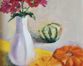 Still life with pumpkins ORIGINAL oil painting, 9*12 inches, oil on canvas board by Nadia Gurkova
