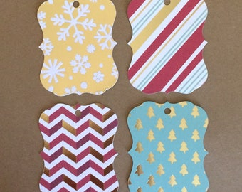 "20 - 3""  Christmas Gift Tags - Gold Foil Accents - Favor Tag T15"