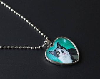 Custom painted pet portrait heart pendant necklace