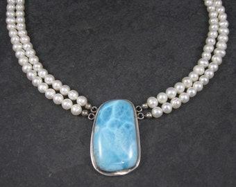 Vintage Sterling Pearl Larimar Necklace