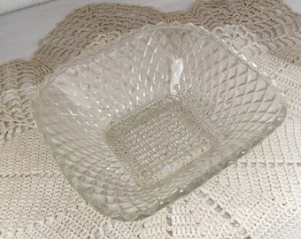 Vintage Diamond Pattern Clear Pressed Glass Square Sawtooth bowl, early american pressed glass, EAPG,