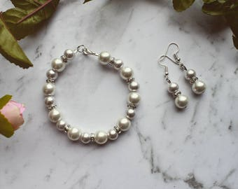 Jewelry set, oops, gift for her, bridal, beaded bracelet, beaded earrings, bead bracelet, oops, elegant, handmade, for women