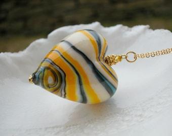 Venetian Murano Blown Glass Heart Necklace, Huge